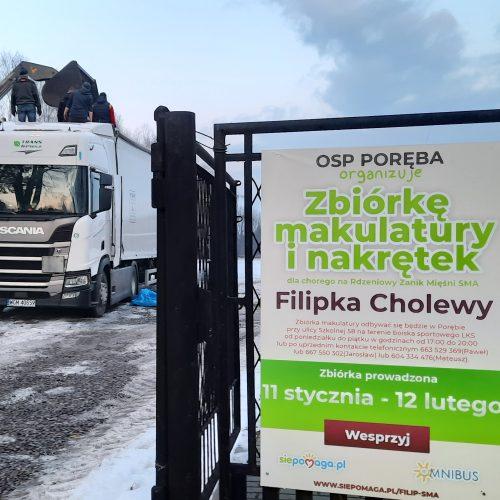Zbiórka makulatury i nakrętek na rzecz chorego Filipka Cholewy